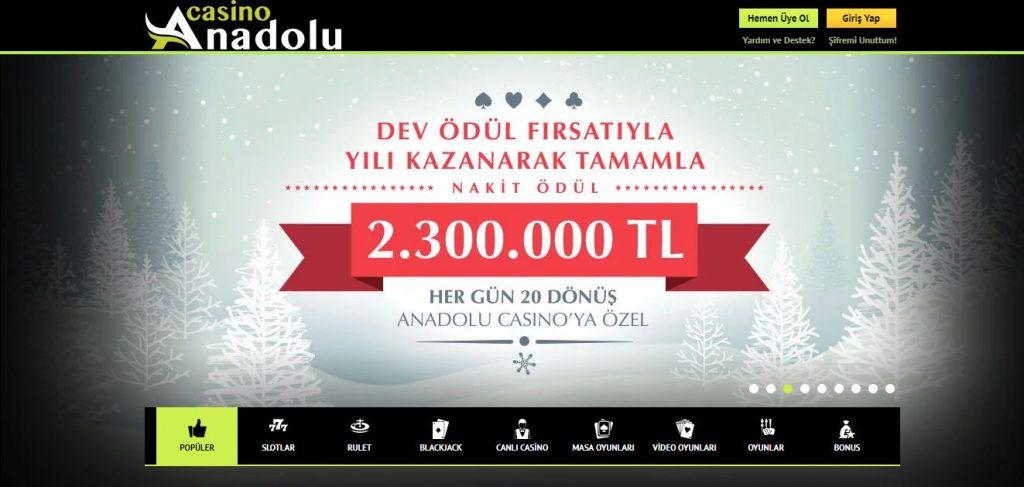 Anadolu Gazino Bonuslar ve Kampanyalar Sayfası